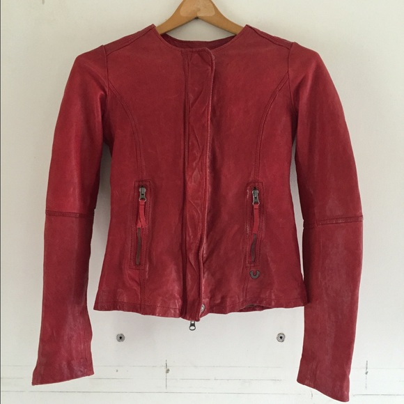 True Religion Red Leather Jacket True Religion Red Leather