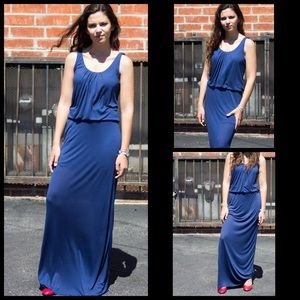 Bella Luxx Silk Maxi Dress in Navy