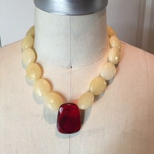 Statement yellow and red beaded necklace