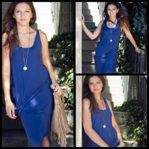 Bella Luxx Dresses & Skirts - Bella Luxx Silk Navy Blue Midi Slit Tank Dress