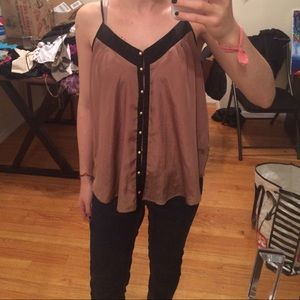 Brown button top