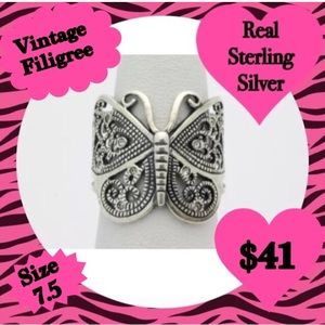 BNWT- Vintage Filigree Butterfly Ring w/ Crystals.