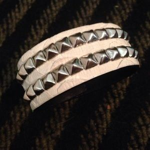 Made Her Think Jewelry - Made Her Think white studded snakeskin cuff