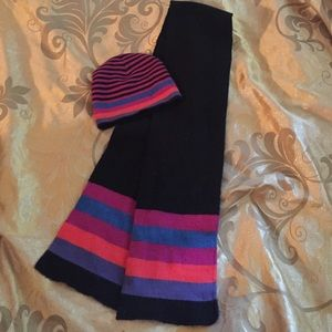 Colorful hat & scarf combo! Striped