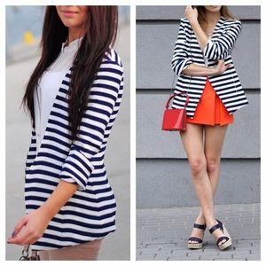 Striped Open Blazer