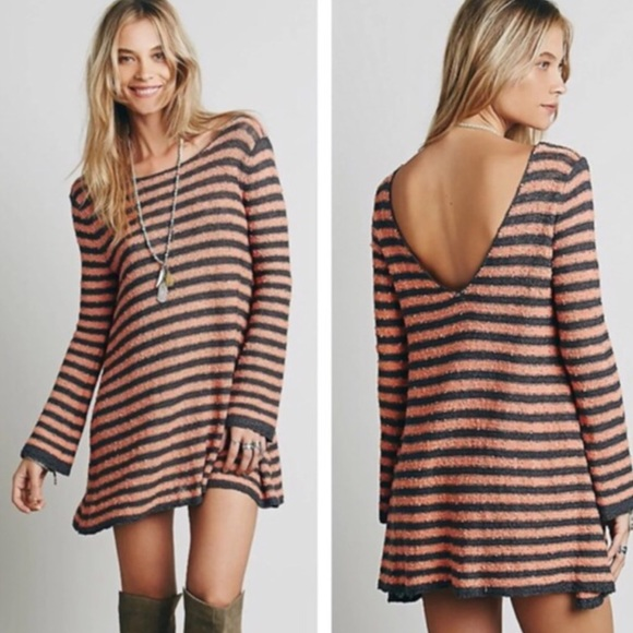 d4acd43ed3f8 Free People Sweaters | Tunic Striped Mini Swing Sweater Dress | Poshmark