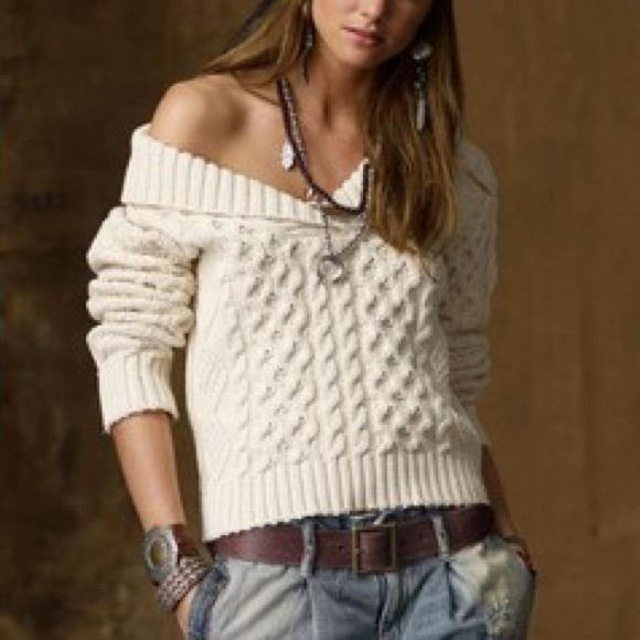 57bb08bd4 RL Denim   Supply Shawl Neck Cable Knit Sweater. M 55eb8708bf6df5234f00ec67