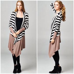 """Halfway Down"" Striped Colorblock Cardigan"