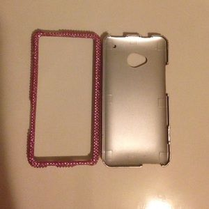 HTC Accessories - HTC One-pink sparkle phone case