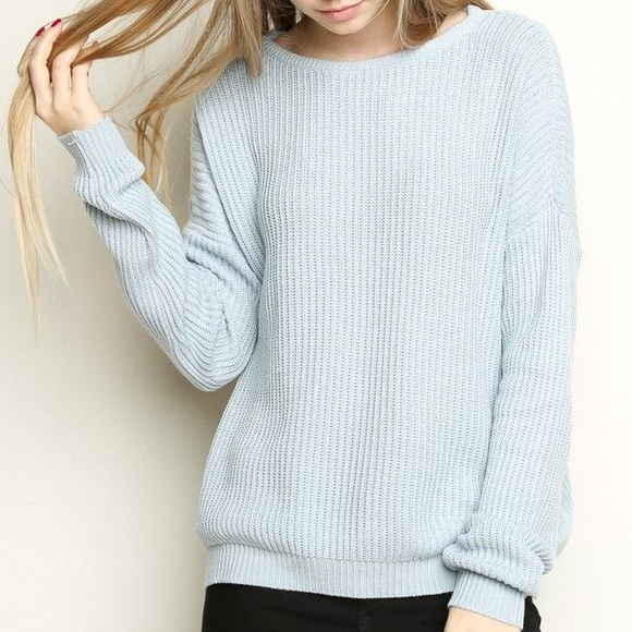 Brandy Melville - NWOT Brandy Melville Ollie Light Blue Knit ...