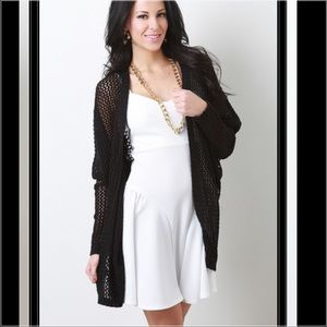 New black oversized knitted cardigan