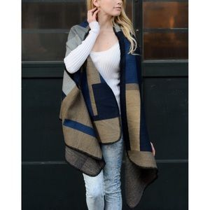 LOWEST Colorblock Cardigan Wrap Poncho