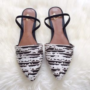 Report Black & White Pointed Slingback Flats