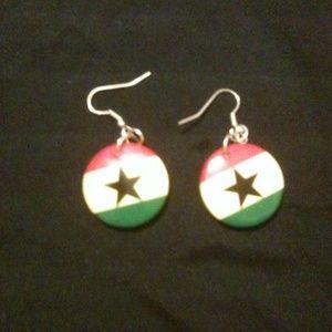 Ghana flag earrings