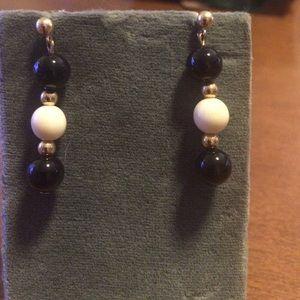 Jewelry - Handmade Black Onyx and ivory earrings w/14k gold