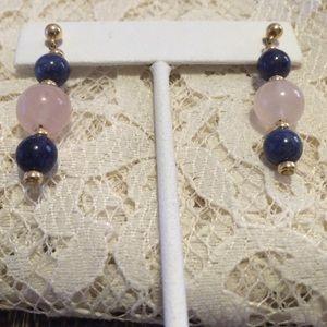 Jewelry - Handmade lapis lazuli and Rose Quartz earrings