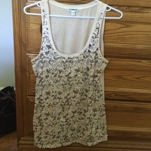 Express sequin embellished tank top size small