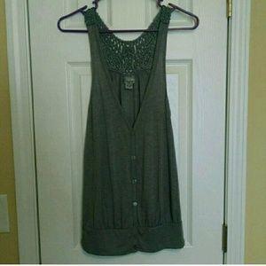 Daytrip Jackets & Blazers - Gray Button-Up Vest with Crochet Racerback