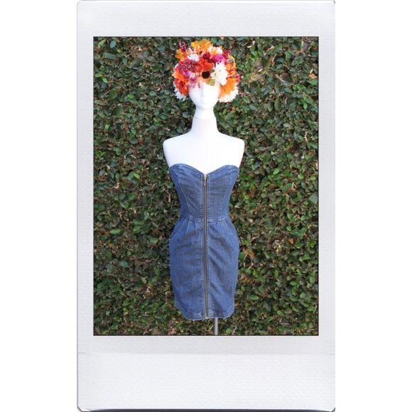 Divine Rights of Denim Dresses - Strapless Denim Zipper Dress