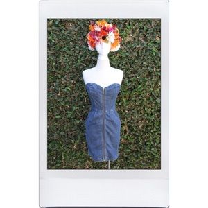 Strapless Denim Zipper Dress