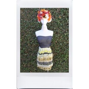 Strapless Yellow Pattern Dress