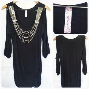 Black chain sequins top