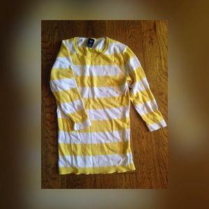 GAP yellow striped 3/4 sleeve sweater