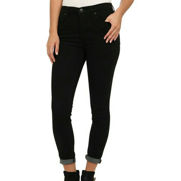 NWT Free People High Rise Roller Crop Skinny Jeans in black Retail $68
