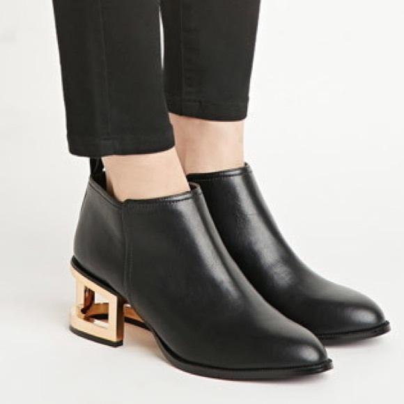 Gold Heel Booties - Qu Heel