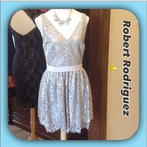 Robert Rodriguez Dresses & Skirts - Robert Rodriguez Silver Lace Cocktail Dress (NWT)
