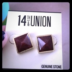 14th & union  Jewelry - Square earnings purple stone