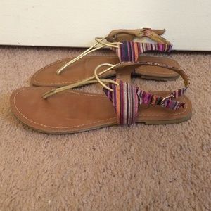 Carlos Santana Shoes - Striped and gold sandals