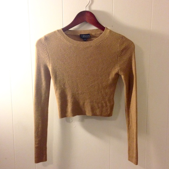 64% off Topshop Sweaters - TOPSHOP • Camel Ribbed Cropped Sweater ...