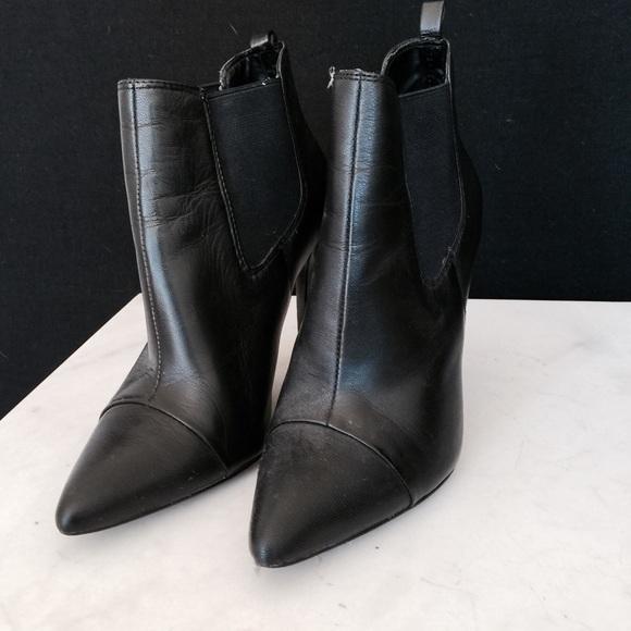 00fa4023124 Mango Pointed Toe Leather Ankle Black Boots 6 36