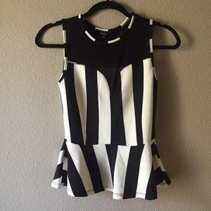 NWT Striped Peplum Top