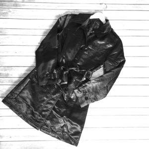 Black Satin Knee Length Coat