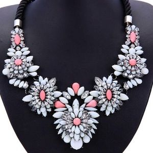 white/pink/ Crystal Statement Necklace