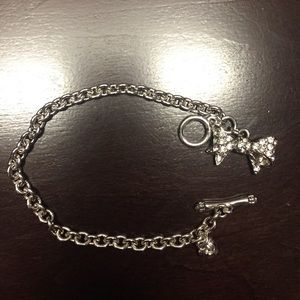 Juicy Couture Silver chain bracelet with bow charm