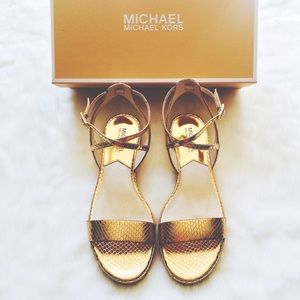 MICHAEL Michael Kors Shoes - Gold Snake Print Leather Kaylee Ankle Strap Flats