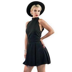 Style Link Miami Dresses & Skirts - BLACK HALTER NECK LINE MINI DRESS