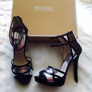 MICHAEL Michael Kors Shoes - Michael Kors Black & Silver Ankle Strap Heels