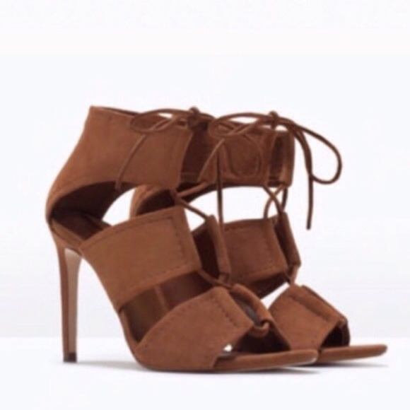 48% off Zara Shoes - ZARA TAN BRWN SUEDE LACE-UP HEELS from Nan's ...