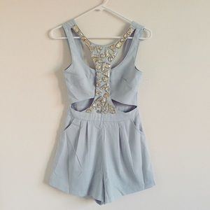 😍 HOST PICK! Baby blue gem romper