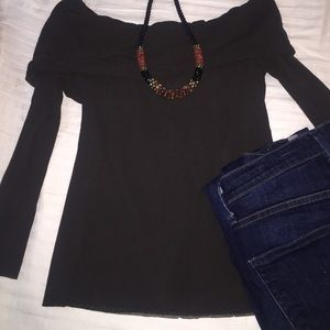 Petit Pois by Viviana G Tops - Chocolate brown off the shoulder top