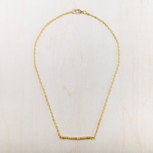Gold-toned bead bar and chain necklace
