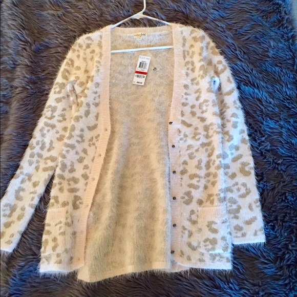 47% off Maison Jules Sweaters - Maison Jules pink leopard cardigan ...