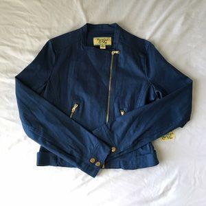 Maralyn & Me Jackets & Blazers - Blue Twill Motto Jacket