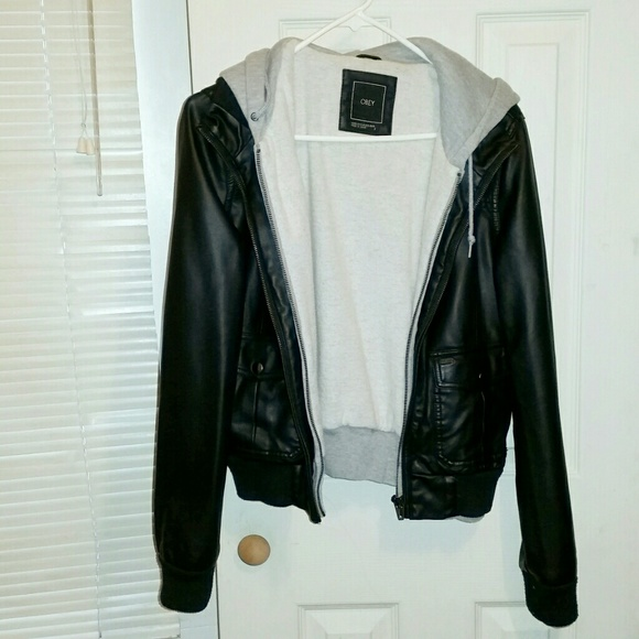 Obey womens leather jacket