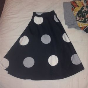 Black & gray polka dot skirt
