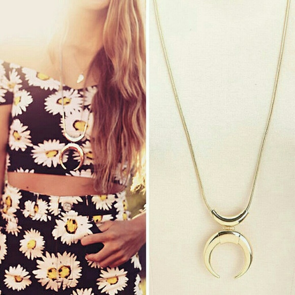 Free people jewelry upside down crescent moon pendant long upside down crescent moon pendant long necklace aloadofball Image collections